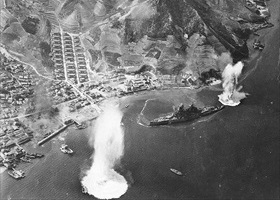 Battleship Haruna sunk, Kure Harbor, July 1945