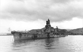 Heavy cruiser Aoba sunk, Kure Harbor, July 1945