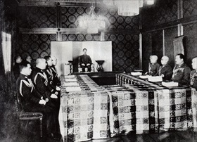 Hirohito (middle) as head of the Imperial Conference, 1943