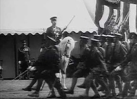 Soldiers on parade before Hirohito