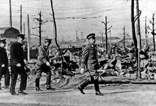 Emperor Hirohito touring Tokyo ruins, March 18, 1945