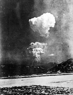 Hiroshima A-bomb mushroom cloud taken 6.2 miles east of ground zero