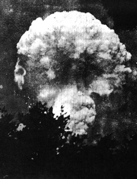 Hiroshima A-bomb  mushroom cloud taken 4.3 miles northeast of ground zero