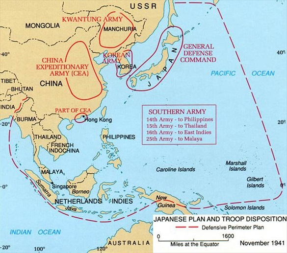 November 1941 map of Japanese plans and troop dispositions