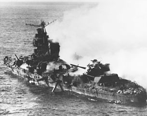"Battle of Midway: Smoldering hulk of Japanese heavy cruiser ""Mikuma,"" June 6, 1942"