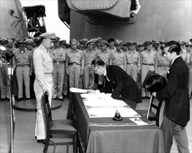 Signing the Japanese Instrument of Surrender, September 2, 1945