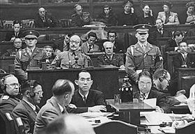 Hideki Tōjō in the defendant's box