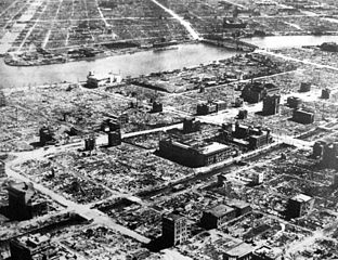 Firebombing campaign against Japan: Virtually destroyed Tokyo residential section, 1945