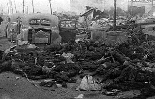 Charred remains of Tokyo civilians after March 1945 firebombing
