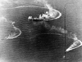Battle of the Philippine Sea: Japanese aircraft carrier Zuikaku under attack, June 20, 1944