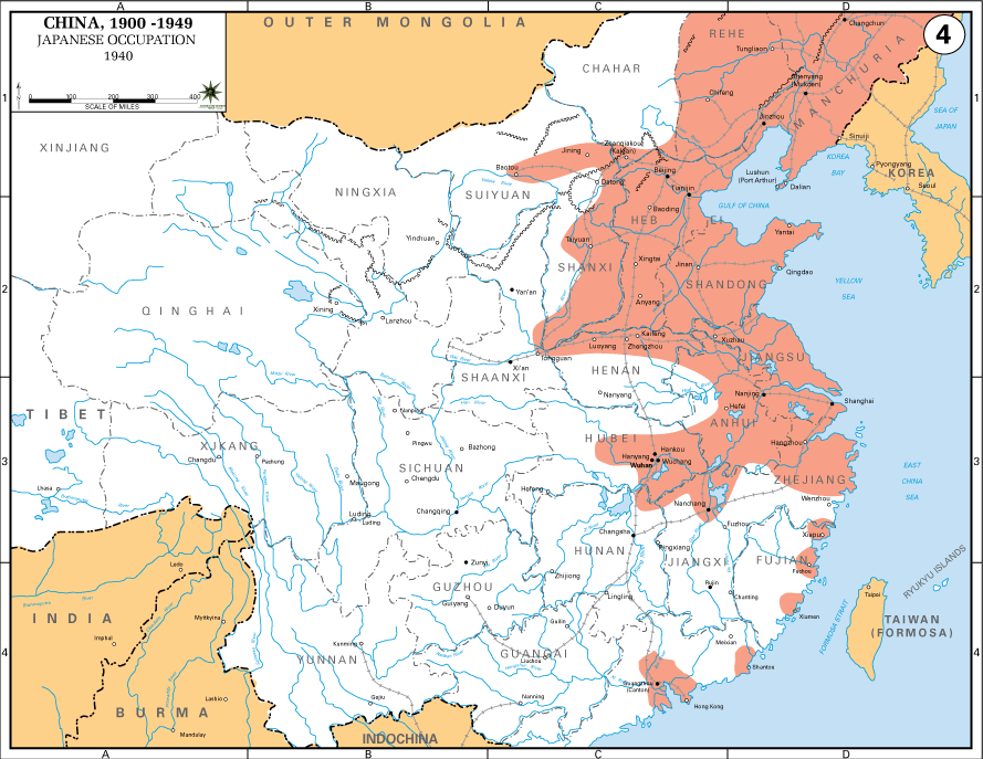 Map of Japanese Occupation in China, 1940