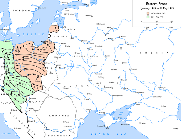 Map Eastern Front, January 1 to May 11, 1945