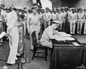 Adm. Nimitz signs Japanese Instrument of Surrender, 9/2/45