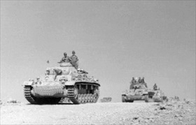 Western Desert Campaign: Afrika Korps Panzer Mk IIIs move to repel British, March 1941