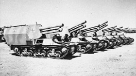 Captured Sd Kfz 135/1 self-propelled 150mm howitzers from the 21st Panzer Division
