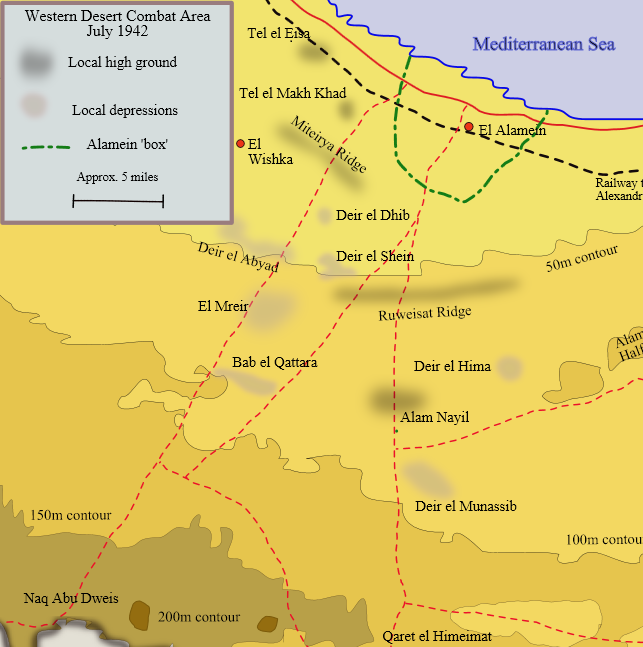 Map of Egyptian battlefields, September–October 1942