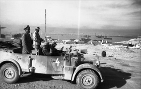 Rommel overlooking Tobruk Harbor, June 1942
