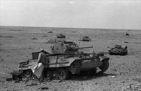 Abandoned British Valentine tanks being inspected, 1942