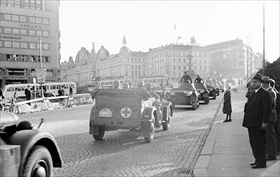 Operation Weseruebung: German troops driving in Oslo, May 1940