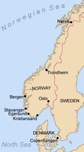 Map of Norway and Denmark, April 1941