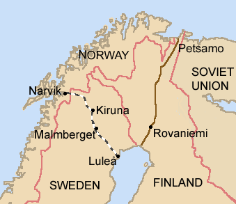 Map of northern Scandinavia showing iron ore sites and rail network