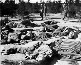 Corpses at Ohrdruf camp gate