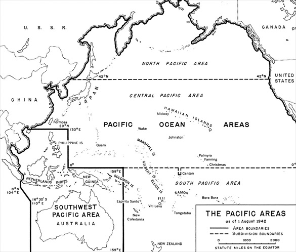 Pacific Theater Command Areas, August 1942