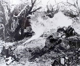 Battle of Tarawa: Marine with flamethrower, Tarawa, 1943
