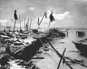 Operation Cartwheel and Battle of Tarawa: Betio Island invasion beach, late November 1943