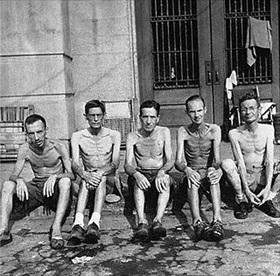 Battle of Manila: Emaciated survivors of Santo Tomas internment, February 1945