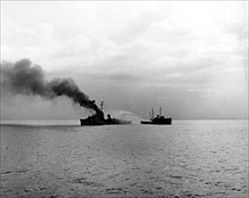 Battle of Leyte: USS Lamson on fire, Ormoc Bay, Leyte, December 7, 1944