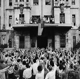 Santo Tomas camp internees cheering their release, February 5, 1945