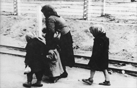 Children and elderly woman on way to Birkenau gas chamber, May 1944