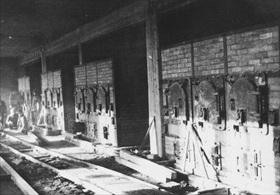 Gas ovens in Birkenau crematory II