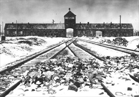 "Main entrance ""Gate of Death"" to Auschwitz-Birkenau"