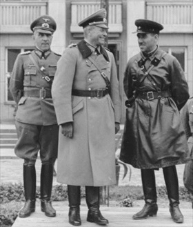 Polish Campaign: German and Soviet officers on reviewing stand, Brest, September 22, 1939