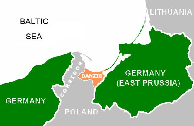 Polish Corridor and Danzig enclave, 1939