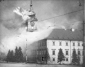 Royal Castle in Warsaw burning, 1939