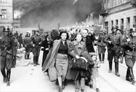 Warsaw ghetto residents under armed escort