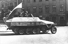 Captured German armored SdKfz 251, Warsaw, August 1944