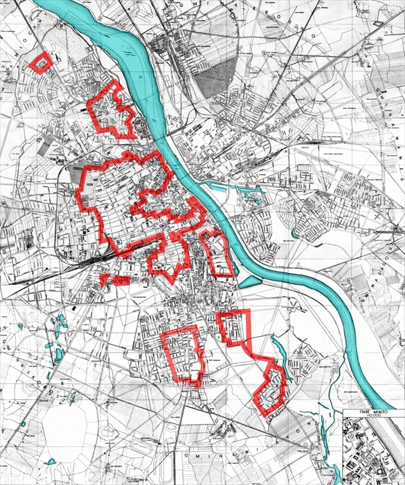 Polish Home Army positions outlined in red on day 4 (August 4, 1944)