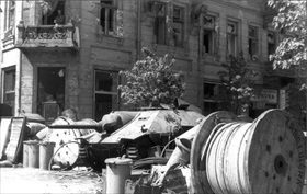 Warsaw street barricade, 1944