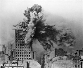 Warsaw Uprising: Prudential building being destroyed, Warsaw, August 28, 1944