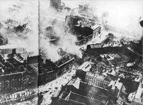 German Blitzkrieg against Poland: Warsaw burning, September 1939