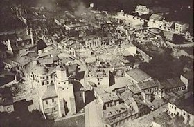 Central Poland town of Wieluń after three air raids, September 1, 1939