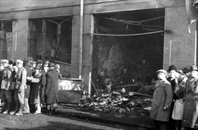Romanian Holocaust: Destroyed Jewish shops, Bucharest, Romania, January 23, 1941