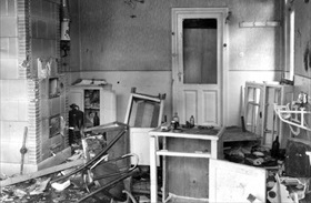 Destroyed doctor's office, Bucharest, Romania, January 23, 1941