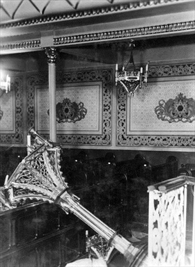 Romanian Holocaust: Interior a ruined synagogue, Bucharest, Romania, January 23, 1941