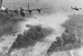 Allied bombing campaign against Axis: B-24 Liberators bomb and burn oil refineries, Ploesti, August 1, 1943