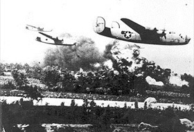 Allied bombing campaign against Axis: Low-altitude-flying Liberators, Ploesti, August 1, 1943